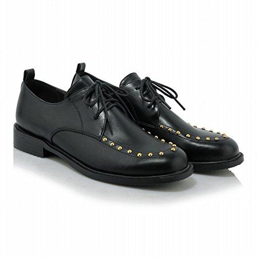 Latasa Damesschoenen Met Studs Met Veters En Hak Oxford Schoenen Zwart