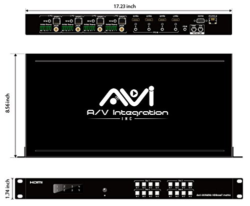 AVI HDBaseT HDMI 2.0 HDCP 2.2 4K 4X4 HDMI Matrix Extender Switcher With 4 POE Receivers Over Single Cat5e/6 Cable Supports Ultra HD 3D 60HZ @ 4Kx2K with Bi-directional IR (Matrix+4receivers) by AVI (Image #8)