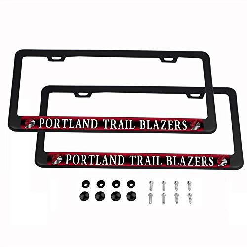 2PCS NBA Lightweight Matte Black License Plate Frames Powder Coated Aluminum - Portland Trail Blazers