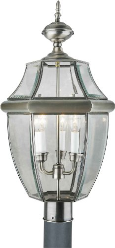 Forte Lighting 1604-03-34 Outdoor Post Fixture with Clear Be