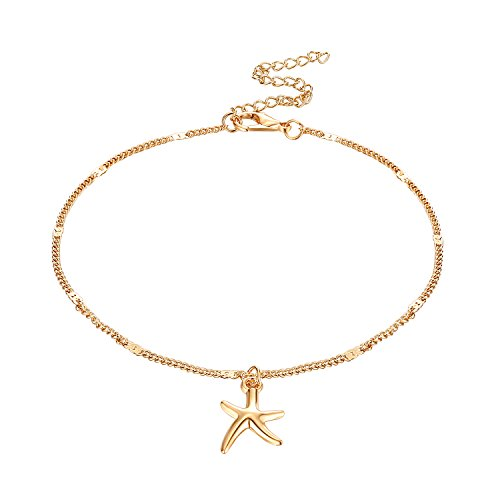 Fesciory Women Anklet Adjustable Beach Ankle Chain Gold Alloy Foot Chain Bracelet Jewelry Gift(Starfish)