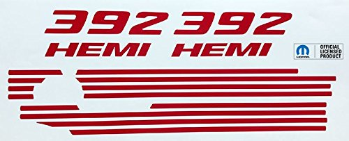 Reflective Concepts 392 HEMI Engine Cover Overlay Decals for Challenger and Charger - (Color: Gloss Red) Dodge Charger Hemi Engine