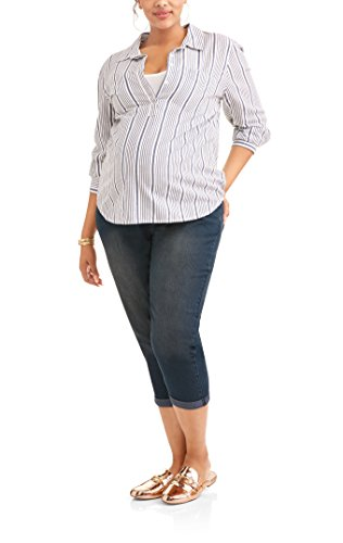RUMOR HAS IT Maternity Over The Belly Cuffed Capri Crop Straight Jeans (Large, Medium)