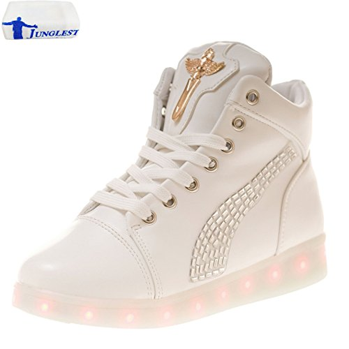 [Presente:pequeña toalla]JUNGLEST (TM) Unisex 7 Colors USB Carga LED Luz Luminosas Flash Zapatos Zapatillas de Depo c22