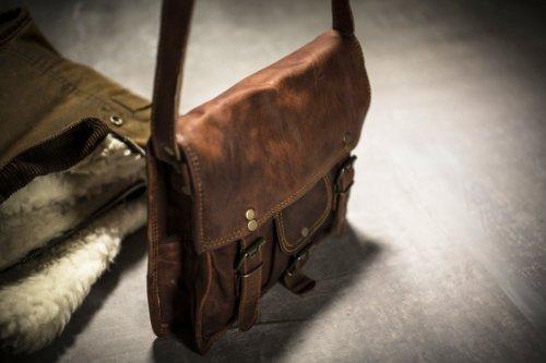 "11"" Retro Handmade Goat Leather Shoulder Bag Ipad Satchel With Pocket Ssp Satch&fable"