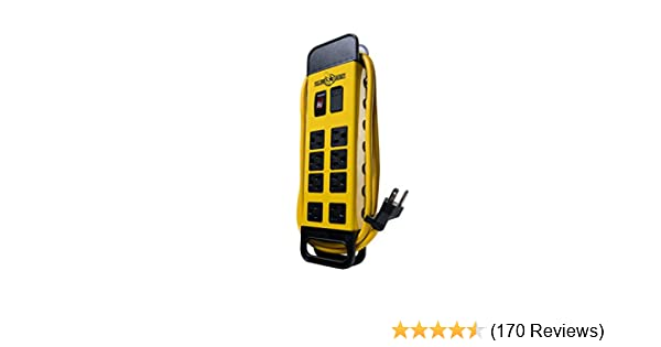 Yellow Jacket 5148 Modern 8-Outlet Metal Power Block with 2 USB Ports,