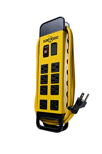 Yellow Jacket 5148 Modern 8-Outlet Metal Power Block with 2 USB Ports, Yellow