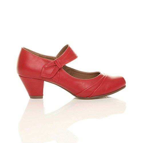 Chaussures Babies Femmes De Pointure Ajvani Travail Moyen Rouge Confort Escarpins Talon Mat R4wFTq