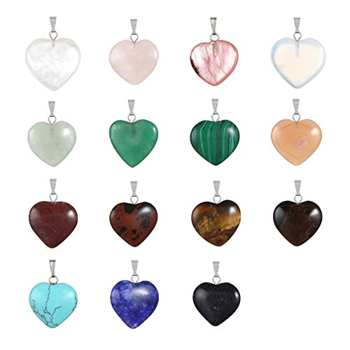 20pcs Heart Shape Healing Crystal Stone Chakra Quartz DIY Stone Random Color Gemstone Pendants for Necklace Earring Jewelry (Turquoise Gemstone Necklace Earrings)