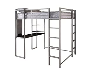 dorel home products abode full size loft bed silver - Loft Bed Frame Full