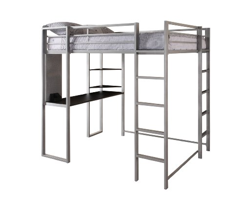 DHP Abode Full-Size Loft Bed Metal Frame with Desk and Ladder, Silver by DHP