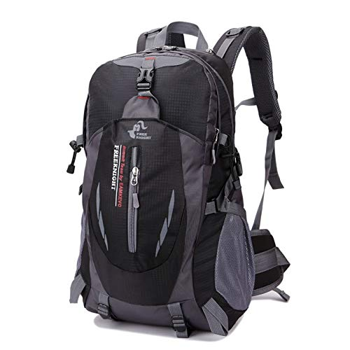 Qinhum Outdoor Sports Backpack, Free Knight 8607 35L Travel Water Repellent Nylon Bag (Ship from US) (Color : Black)