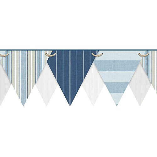 York Wallcoverings NY4902BD Nautical Living Striped Pennant Border, Cream/Pale Grey/White/Chambray Blue/Pale Blue/Navy Blue/Khaki ()