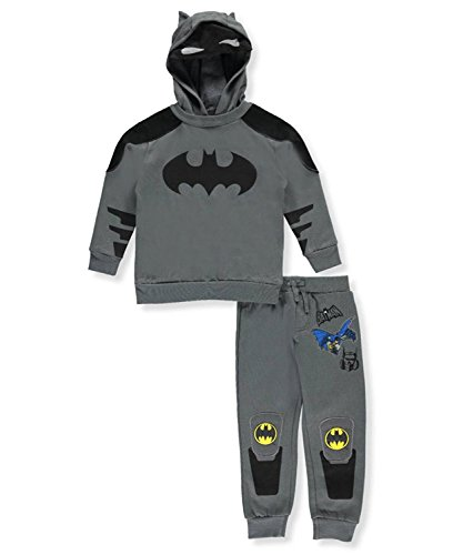 DC Comics Batman Boys Gray Hooded Sweatsuit (Kids Batman Suit)