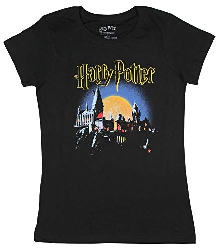 Real Deal Sales LLC Hogwarts Shirt School of Witchcraft and Wizardry Juniors Costume Logo Tee XS Black