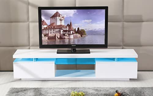 low priced 7ec3a 5d9f8 TV Cabinet White or Black Entertainment Unit Stand Gloss LED Lowline Shelf  TV13 (White with Light)