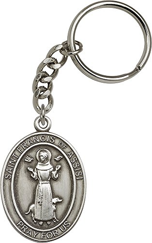Antique Silver Plated St. Francis of Assisi Keychain 1 7/8 x 1 1/4 inches