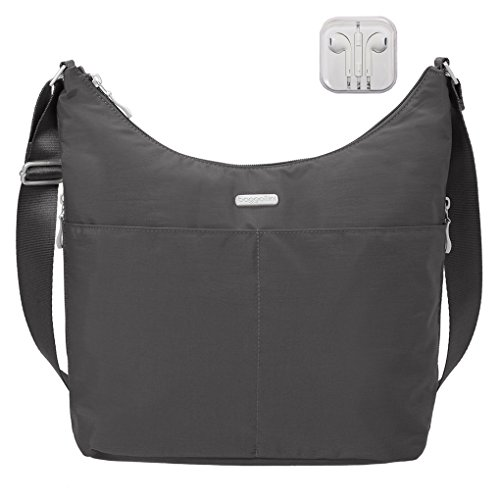 complimentary wristlet wallet Crossbody RFID Handbag with Earphones Hobo Travel Charcoal Bundle Baggallini xAqnwX8Un