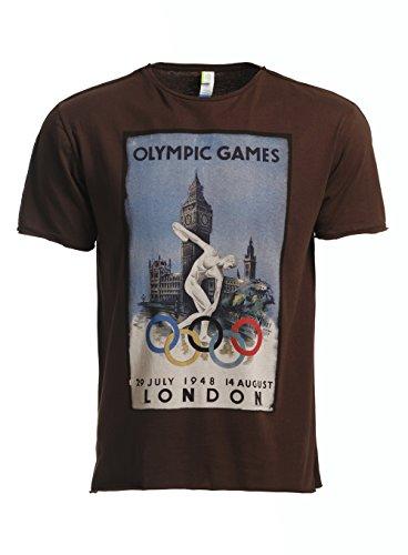 Eron Apparel Men's Vintage London Olympics Poster Crew Neck T Shirt Brown L