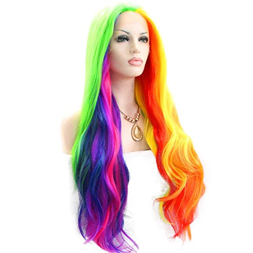 Melody Rainbow Multi-colored Synthetic Lace Front Wigs Orange Yellow Green Blue Purple Ombre Natural Wave Heat Resistant Fiber Hair for Women 24'' by Melody Wig