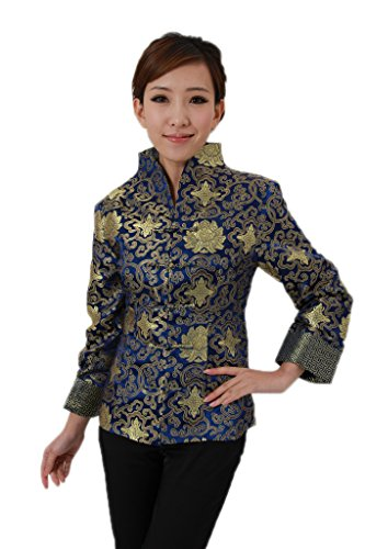 [AvaCostume Women's Chinese Style Jacquard Brocade Standing Collar Coat Size US 10, 1157] (Chinese Dynasty Costume)