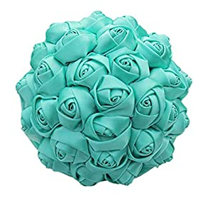 Flonding Handmade Wedding Bouquets Bride Bridal Silk Rose Satin Ribbon Handle Bouquet Romantic Bridesmaid Holding Flowers for Valentine's Day Confession Church (Turquoise, Dia: 15cm) 1