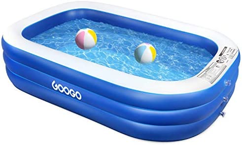 GOOGO Family Inflatable Swimming Pool, 92 x56 x20 Full-Sized Inflatable Lounge Pool for Kiddie, Kids, Adults, Easy Set Swimming Pool for Backyard, Summer Water Party, Outdoor