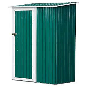 Outsunny 4x3 Metal Shed Green Corrugated Storage