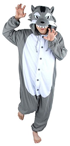 [Unisex Adult Grey wolf Animal Onesie Pajamas Costume Cosplay Clothing Sleepwear] (Role Reversal Halloween Costumes)