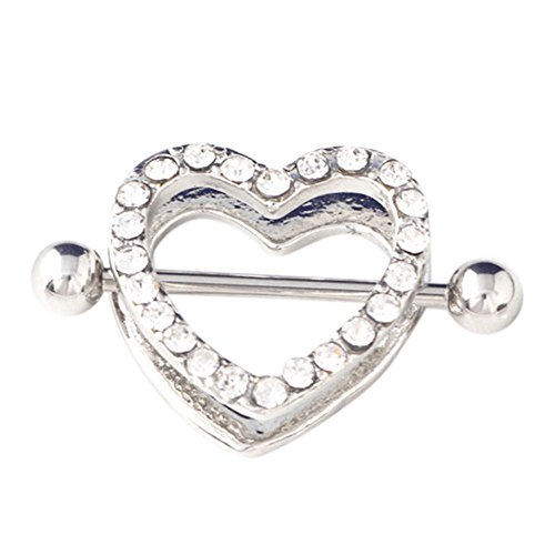 Heart Shaped Bar - Warmmulty Shield HOT Heart Shaped Surgical Brand New Barbell Shiny Body Piercing Nipple Ring Bar Rhinestone