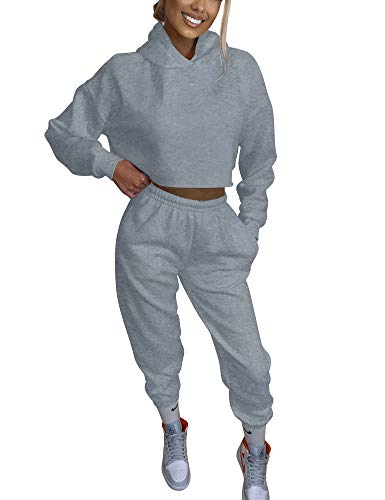 BORIFLORS Women's 2 Piece Outfits Causal Hoodie Sweatshirt and Long Pants Jogger Tracksuit Sweatpants,S,Grey for winter