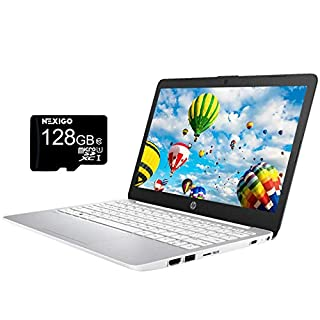 2021 HP Stream 11.6 Inch Non-Touch Laptop, Intel Atom x5 E8000 up to 2.0 GHz, 4GB RAM, 64GB eMMC, Win10 S (1 Year Office 365 Personal Included), White + NexiGo 128GB MicroSD Card Bundle