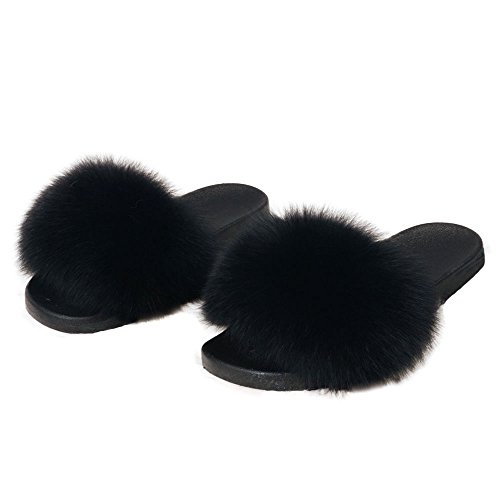 Shoes Slippers Soft Indoor Slides Black Fur Real Womens Summer Flat Outdoor Fox Luxury Soles Bvqxpw4f