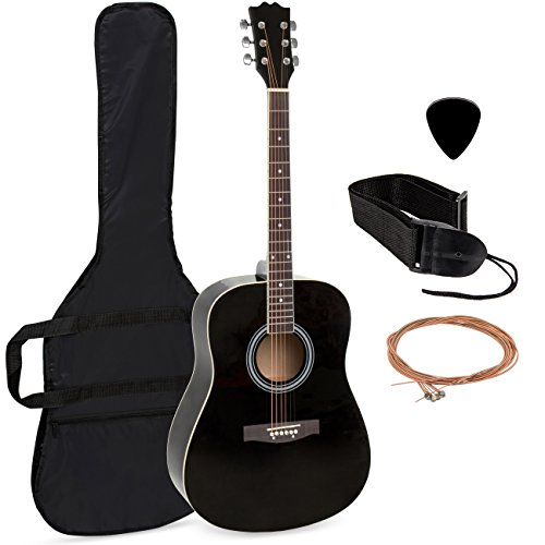 Wood Guitar Straps (Best Choice Products 41in Full Size All-Wood Acoustic Guitar Starter Kit w/Nylon Case, Pick, Shoulder Strap, Extra Steel Strings - Black)