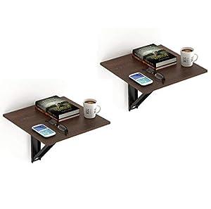 Bluewud Hemming Wall Mounted Folding Bed Side Table (Wenge, Set of 2)