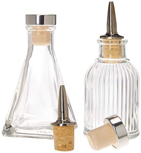 Bitters Bottles - Set of 2 | 90ml - Glass Cocktail Syrups, Shrub, Bitter Dropper Bottle - 2 Types of Cap - Cork Dash Dispenser Caps & Airtight Stopper Lids to Keep Your Ingredients Fresher, Longer