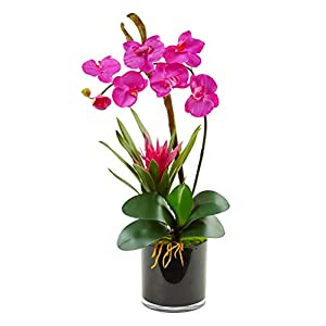 Artificial Flowers -Dark Pink Orchid and Bromeliad in Glossy Black Cylinder 9
