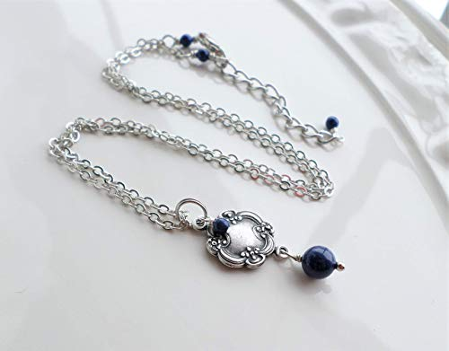 Antique Silver Brass Victorian Pendant Necklace with Lapis Blue Pearls