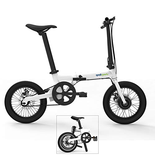 (Qualisports 16in Hybrid Electric Mountain Bike Mini Foldable ebike with Fenders Lithium-ion Battery(36V 250W Hub Motor)+Disc Brakes+Folding Frame+Multi-Function LCD (White))