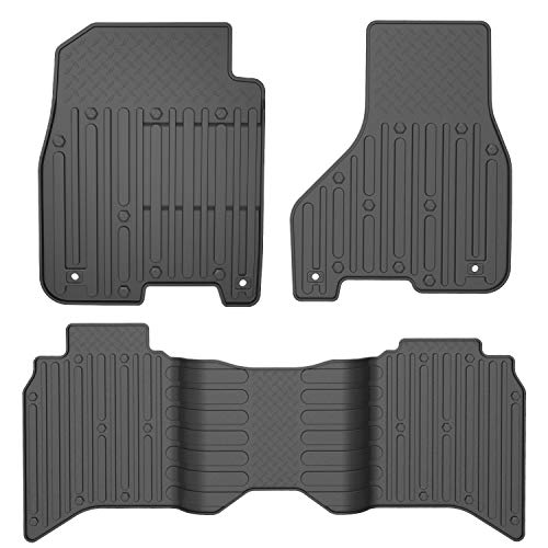 oEdRo Floor Mats Compatible for 2012-2018 Dodge Ram 1500/2500/3500, 2019 Dodge Ram 1500 Classic, Crew Cab Only, Black TPE All Weather Guard 1st and 2nd Row Floor Liners