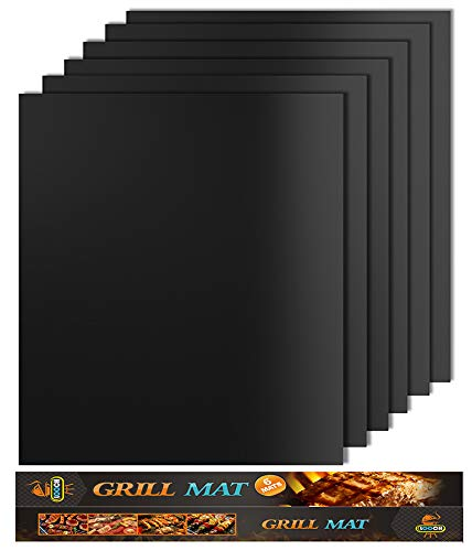 Looch Grill Mat Set of 6- 100% Non-stick BBQ Grill & Baking Mats - FDA-Approved, PFOA Free, Reusable and Easy to Clean - Works on Gas, Charcoal, Electric Grill and More - 15.75 x 13 Inch -