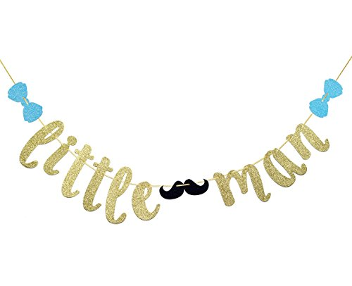 FOZEE Little Man Banner with Mustache and Bow Tie, Boy Baby Shower Banner. Boy 1st Birthday Banner(Gold Glitter)