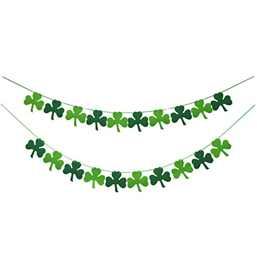 Felt Shamrock Clover Garland Banner - NO DIY - St. Patrick s Day Banner Decor - St. Patrick s Day Garland Decorations - Irish Party Supplies - Green and Light Green Color