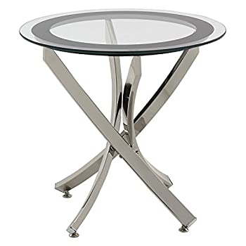 Coaster Home FurnishingsModern Contemporary Round Clear Tempered Glass End Table - Chrome