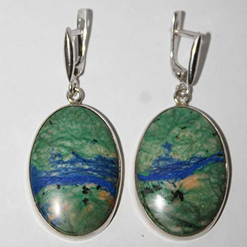 Azurite malachite earrings, 30x21x4 ()