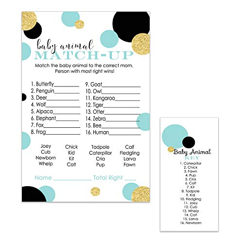 Paper Clever Party Mint and Gold Baby Shower Games Animal Match Trivia Cards Set of 25