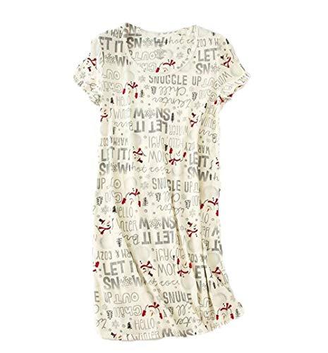 PNAEONG Amoy-Baby Women's Nightgowns Short Sleeves Cotton Sleepwear Print Sleep Shirt XTSY108-Snowman-M