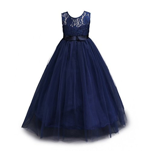 Muababy Big Girls Lace Bridesmaid Dress Dance Gown A Line Dresses (3-4 Years, Navy) (Navy Old Dress Blue)