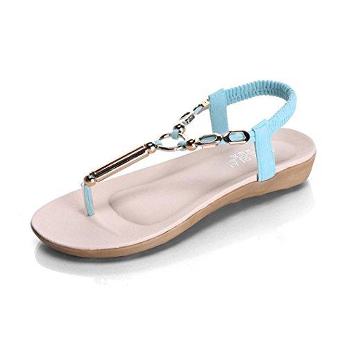 Transer® Damen Sandalen Kreis Rohr T-Gurt Mikrofaserleder+Gummi Armeegrün Beige Schwarz Blau Rosa Sandalen (Bitte achten Sie auf die Größentabelle. Bitte eine Nummer größer bestellen) Blau