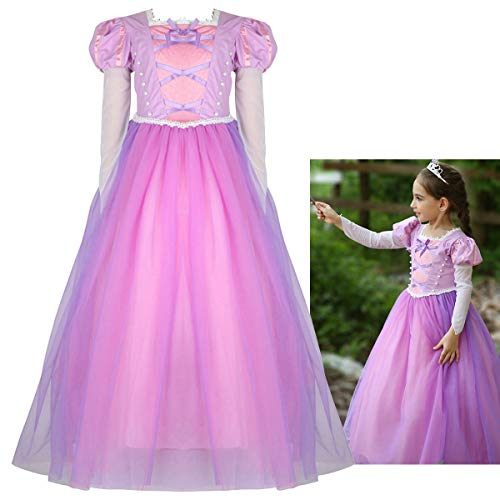 Rapunzel Halloween Costume For Toddlers (PIESWEETY Children Clothes Dresses Princess Dress Up Halloween Costume for Girls (Purple Rapunzel,)